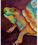 Original Art drawing 24x20 framed matted paisley turtle - $375.00