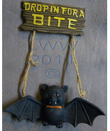 Drop in for a Bite 3-d Vampire Bat Halloween Resin Sign - $7.98