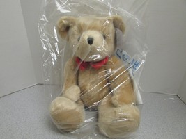 "Russ Berrie Plush Teddy Bear 16"" Valentine Bear Jointed New Red Bow Tie Tan - $3.91"
