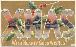 Hearty Good Xmas Wishes Vintage Post Card - $3.00