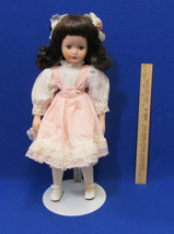 "Vintage 16"" Doll Porcelain Bisque Brown Brunette Hair with Metal Stand - $15.04"