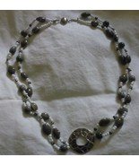 Double stran beaded necklace with metal circle ... - $16.55