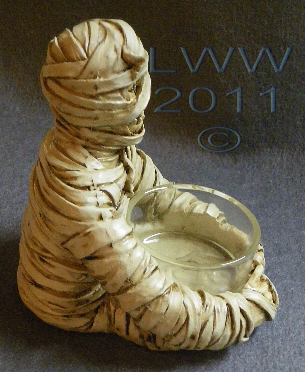 Resin and Glass Halloween Mummy Tea Candle Holder