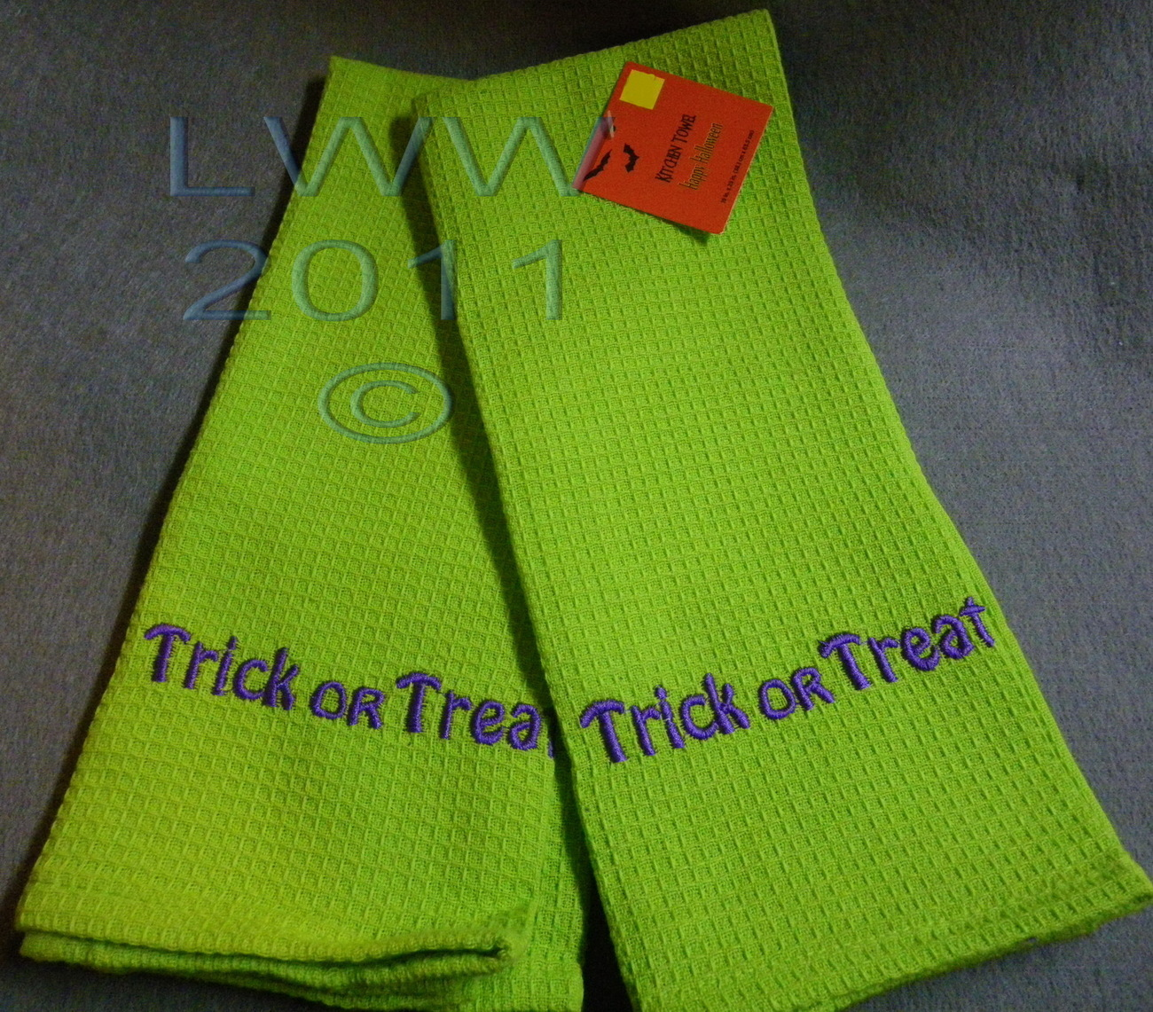 2 Lime Green Halloween Purple Trick or Treat Waffle Knit Towels 100% Cotton