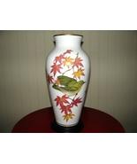 1981 Ryu Signed Japanese Maple Finch Porcelain Vase - $132.00