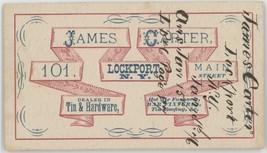 James Carter Lockport NY 1876 business card Sharps Rifle Co  - $65.00