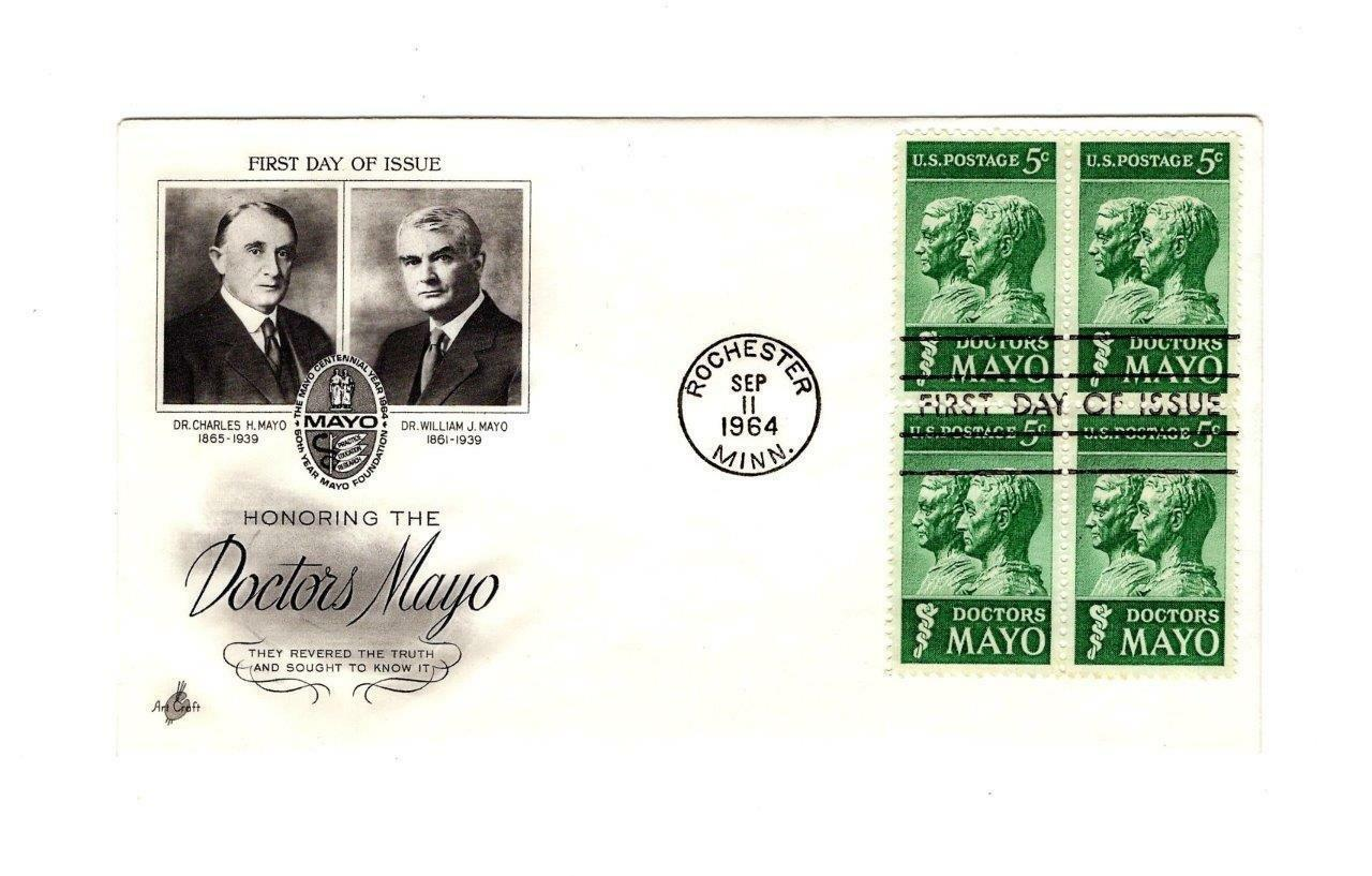 FDC ENVELOPE-HONORING THE DOCTORS MAYO  BL4-1964 ART CRAFT CACHET BK12