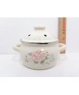 Pfaltzgraff Tea Rose Metal Enamelware Stovetop Potpourri Warmer Pot - $19.99
