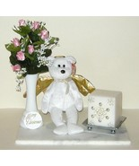 Christmas Roses in Vase Ty Angel Halo Bear Silver White Candle Arrangeme... - $18.00