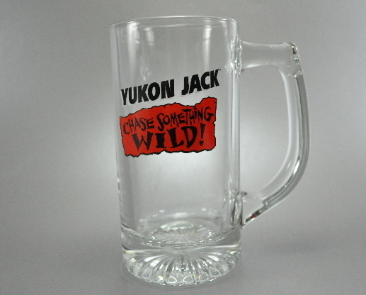Yukon Jack Chase Something Wild Red Label Clear Glass Mug