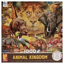 Ceaco 1000 Piece Aminal Kingdom Jigsaw Puzzle, Lion, Safari Elephant, Zebra, Hip - $20.78