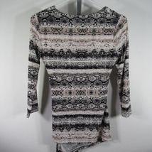 Calvin Klein Blusa Camisa Top TALLA S Blanco Negro Piel de Serpiente Estampado image 3