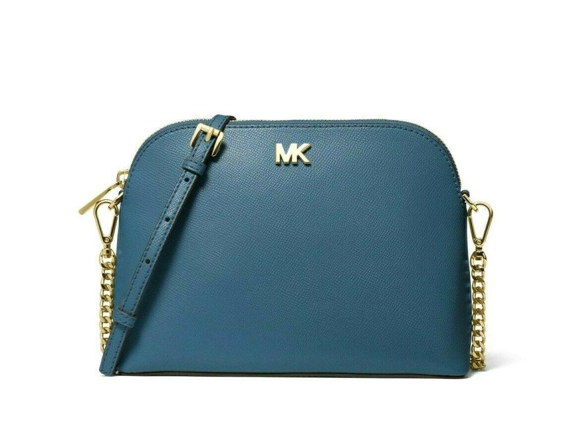 Michael Kors Mott Cindy Large Zip Dome Crossbody Bag Crossgrain Leather Chambray