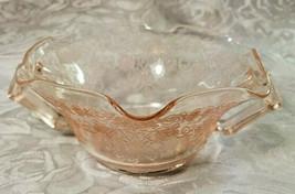 Old Vintage 30s Florentine #1 Pink Depression by Hazel Atlas Cream Soup Nut Bowl image 2