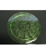 "Jeannette Glass Green Cherry Blossom 10 1/4"" Cake Plate USA  - $49.99"