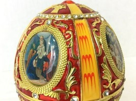 Vintage Red and Gold Egg Metal and Enamel Trinket Box Nativity Christmas image 2