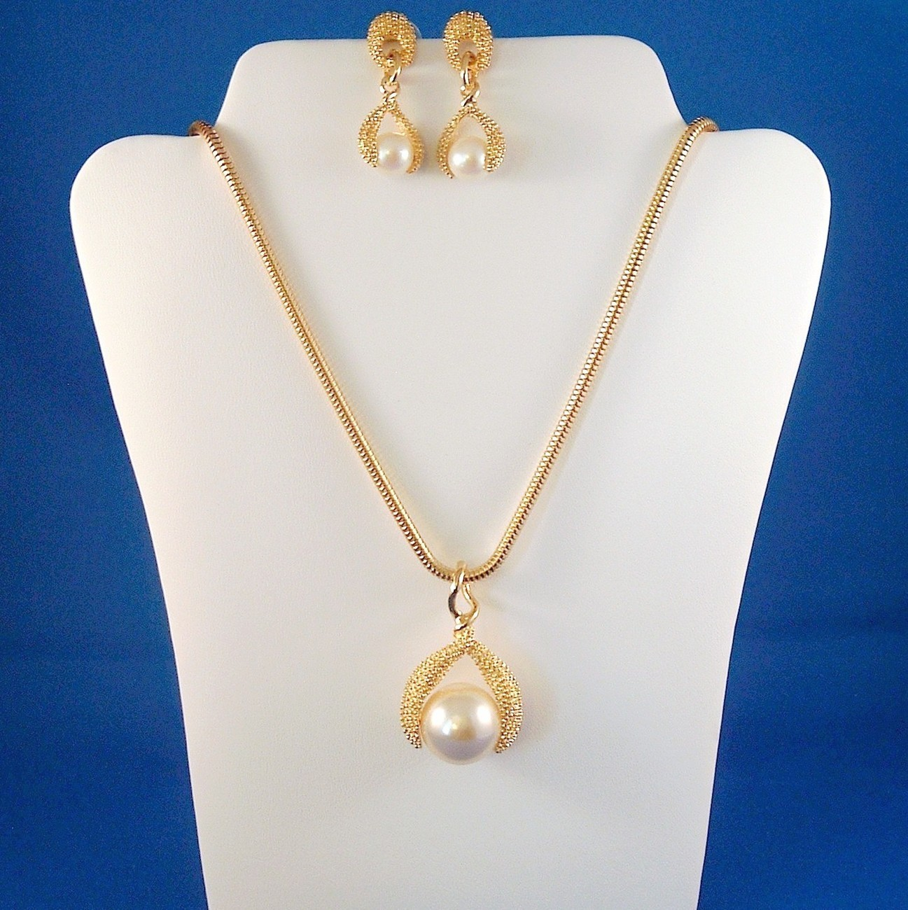 Vintage Faux Pearl Necklace Pierced Earring Set Gold Tone Metal