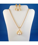 Vintage Faux Pearl Necklace Pierced Earring Set Gold Tone Metal - $24.99
