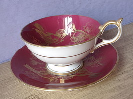 RARE Vintage 1950's Aynsley English bone china red and gold birds tea cup teacup image 2