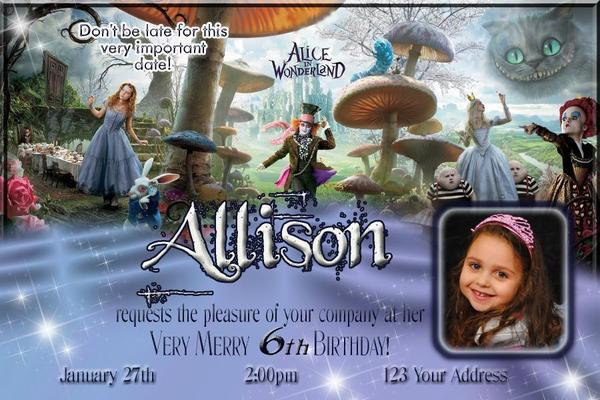 Alice In Wonderland Custom Birthday Party Invitation