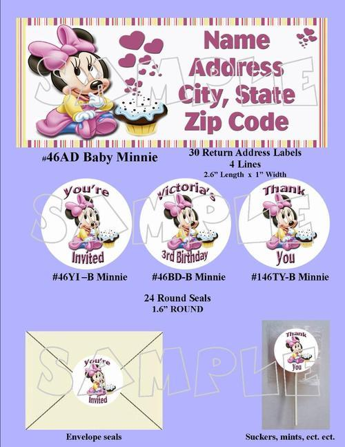 Baby Mickey / Minnie Mouse  Birthday Invitation Digital File ~YOU PRINT~