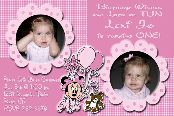 Baby Minnie Mouse First 1st Birthday Photo Invitation