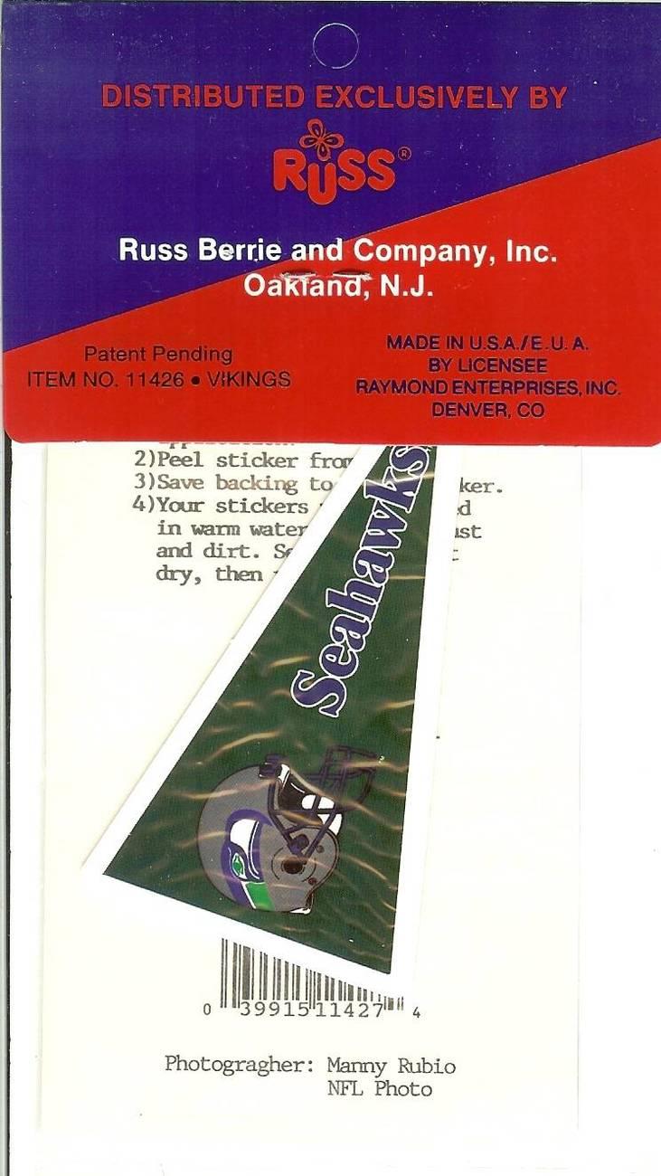 kelly stouffer seattle seahawks football sticker rare autograph facsimile