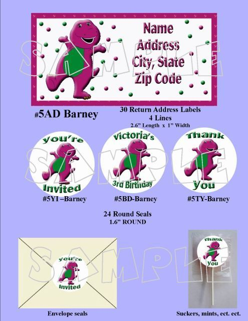 Barney Custom Photo Birthday Party Invitation
