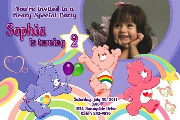 Care Bears Custom Photo Birthday Party Invitation