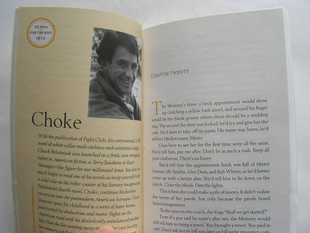 Chuck Palahniuk 'Choke' found in Fiction For the Rest of Us, 2000