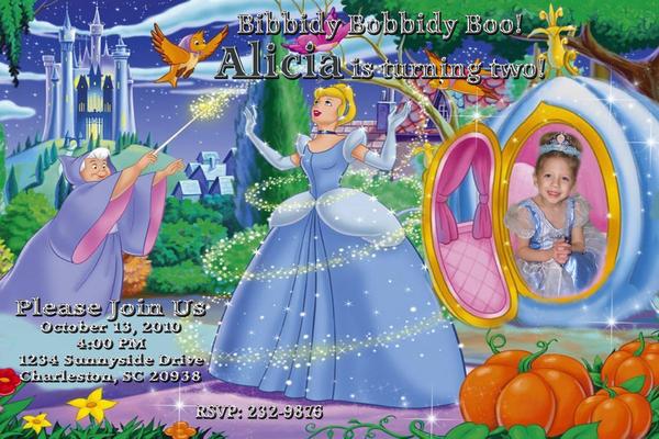 Cinderella Custom Photo Birthday Party Invitation