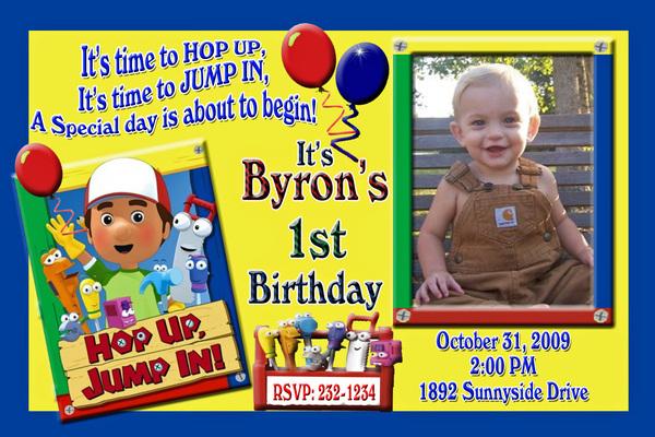 Handy Manny Custom Photo Birthday Party Invitation