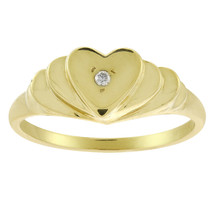 0.01 Carat Round Cut Diamond Accent Heart Ring 14K Yellow Gold - $167.31