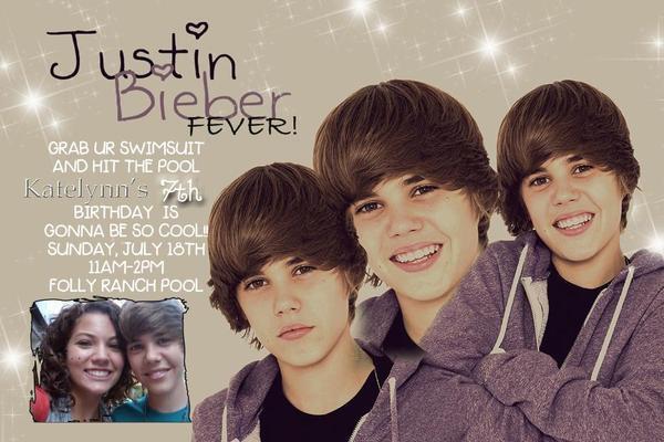 Justin Bieber Personalized Birthday Invitation