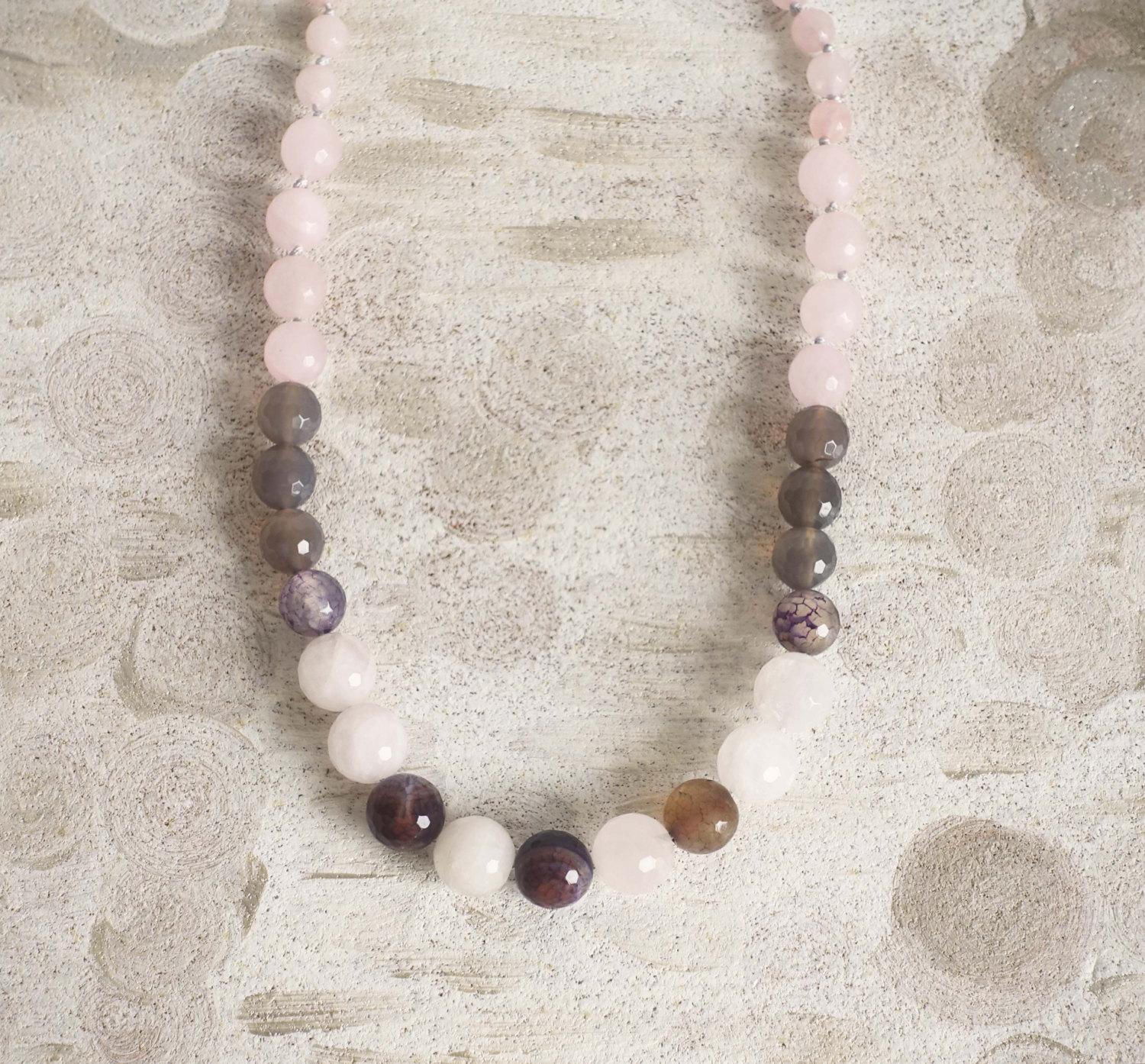 Rose quartz necklace, blush pink necklace, rose quartz jewelry, Pink smokey grey