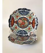 Gump's Japanese Imari Kiku Floral Scallop Footed Porcelain 2 Salad Plate... - $35.99