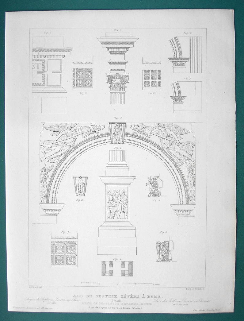 ARCHITECTURE (2) PRINTS 1850 - ROME Arch of Septimus Severus View & Details