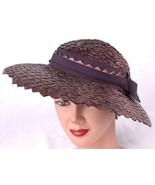 Vtg Mid-Century Straw Sun Hat w Headband- - $18.69