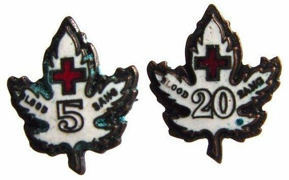 CANADIAN RED CROSS BLOOD DONOR 5, 20 ENAMEL PINS LOT
