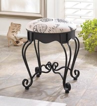 Royal Paris Stool Black Vanity Stool With Chic Canvas Cushion - $74.99
