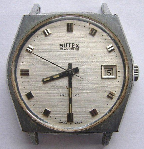 VINTAGE BUTEX SWISS WATERPROOF WRIST WATCH FOR PARTS OR REPAIR