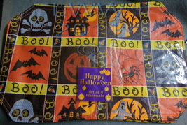 Set of 4 Halloween Placemats Skull Crossbones Bats Spider Ghost Jack-o-l... - $4.99