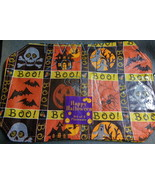 Set of 4 Halloween Placemats Skull Crossbones Bats Spider Ghost Jack-o-l... - $4.99