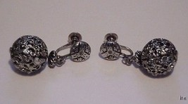 Vtg Silver Filigree Dangling CORO Screw-back Earrings - $19.99