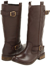NEW MIA  LEATHER BOOTS 7.5 8   $500 LADIES BROWN RIDING BIKER BUCKLES - $60.03