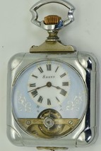 Antique Memento Mori square case HEBDOMAS 8 Days pocket watch c1900's - $2,029.97
