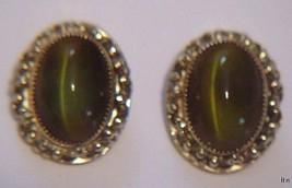 Vintage Whiting & Davis Cat's-eye Quartz Clip Earrings - $29.99