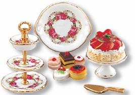 DOLLHOUSE 3-tier Dessert Plate Set Reutter 1.695/8 Roseband Miniature - $34.70