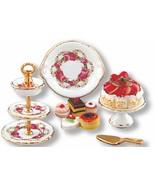 DOLLHOUSE 3-tier Dessert Plate Set Reutter 1.695/8 Roseband Miniature ge... - $35.00