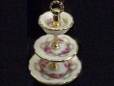 DOLLHOUSE 3-tier Dessert Plate Set Reutter 1.695/8 Roseband Miniature gemjane